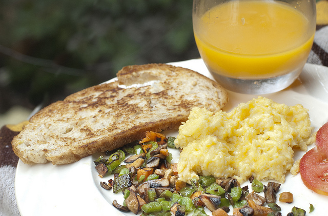 Orange juice, toast and eggs